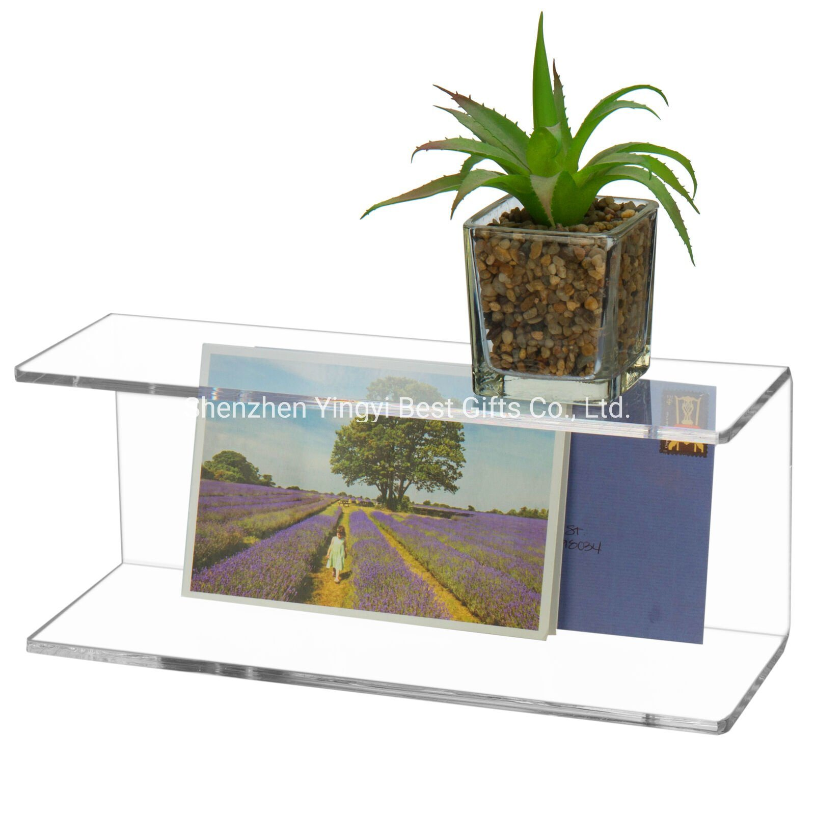 Hot Item Custom 2 Tier Clear Wall Mounted Acrylic Display Shelves Floating Shelf Racks