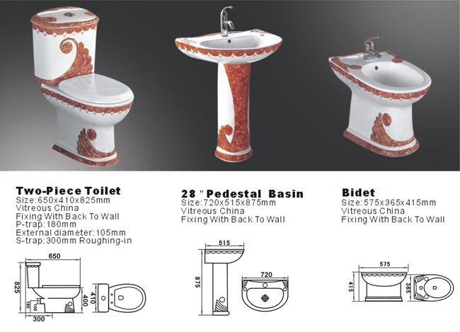 China Ceramic Toilet Set Plated Toliet Sets Pedestal Basin