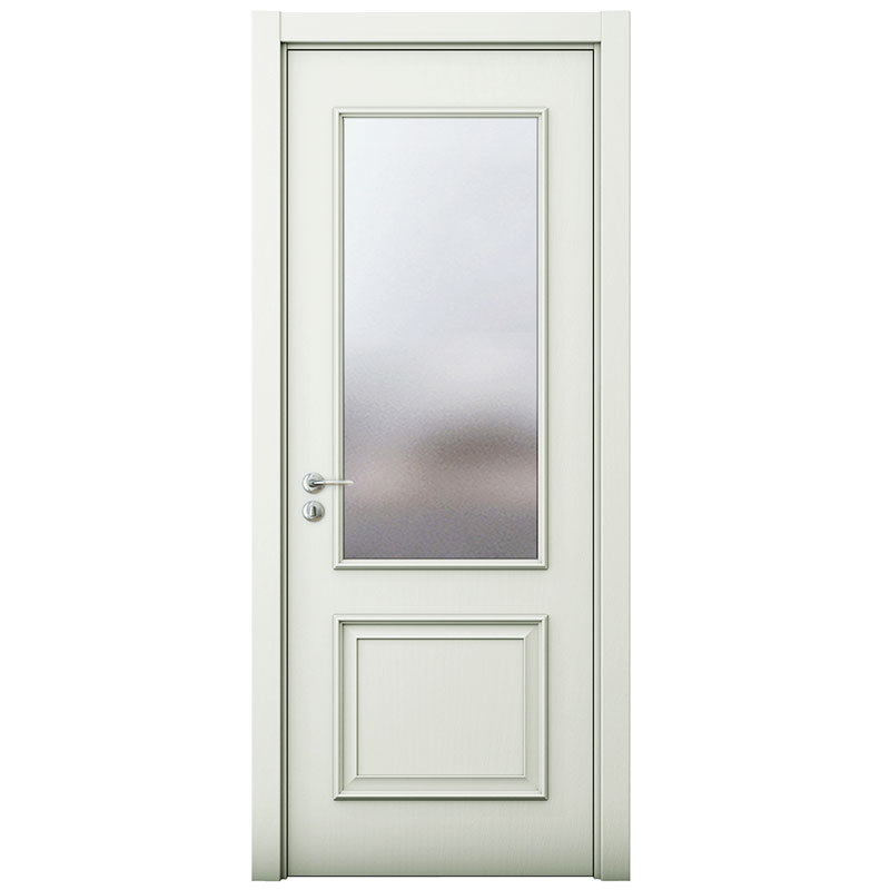 China Oppein White Mdf Wooden Security Door With Glass Mspd50