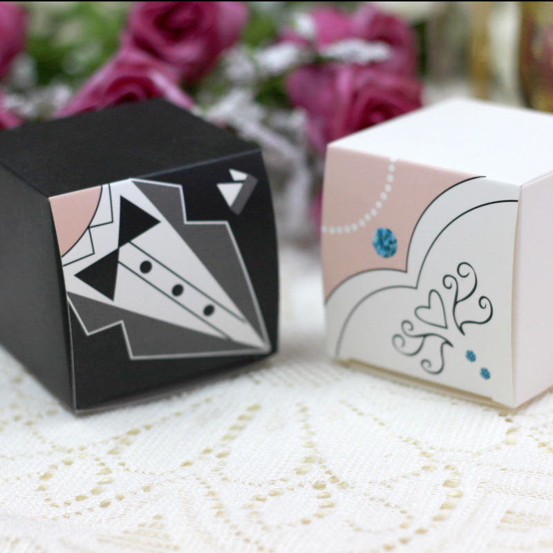 Elegant Candy Box For Wedding Sweet Bag Favors Gift Guest Bride Groom Dresses Party Decoration