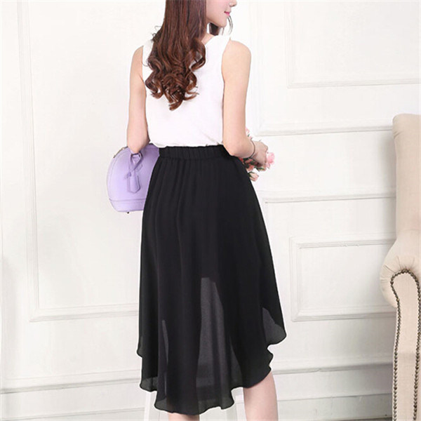 Summer Women Irregular Black Chiffon Dovetail Skirts (14278) pictures & photos