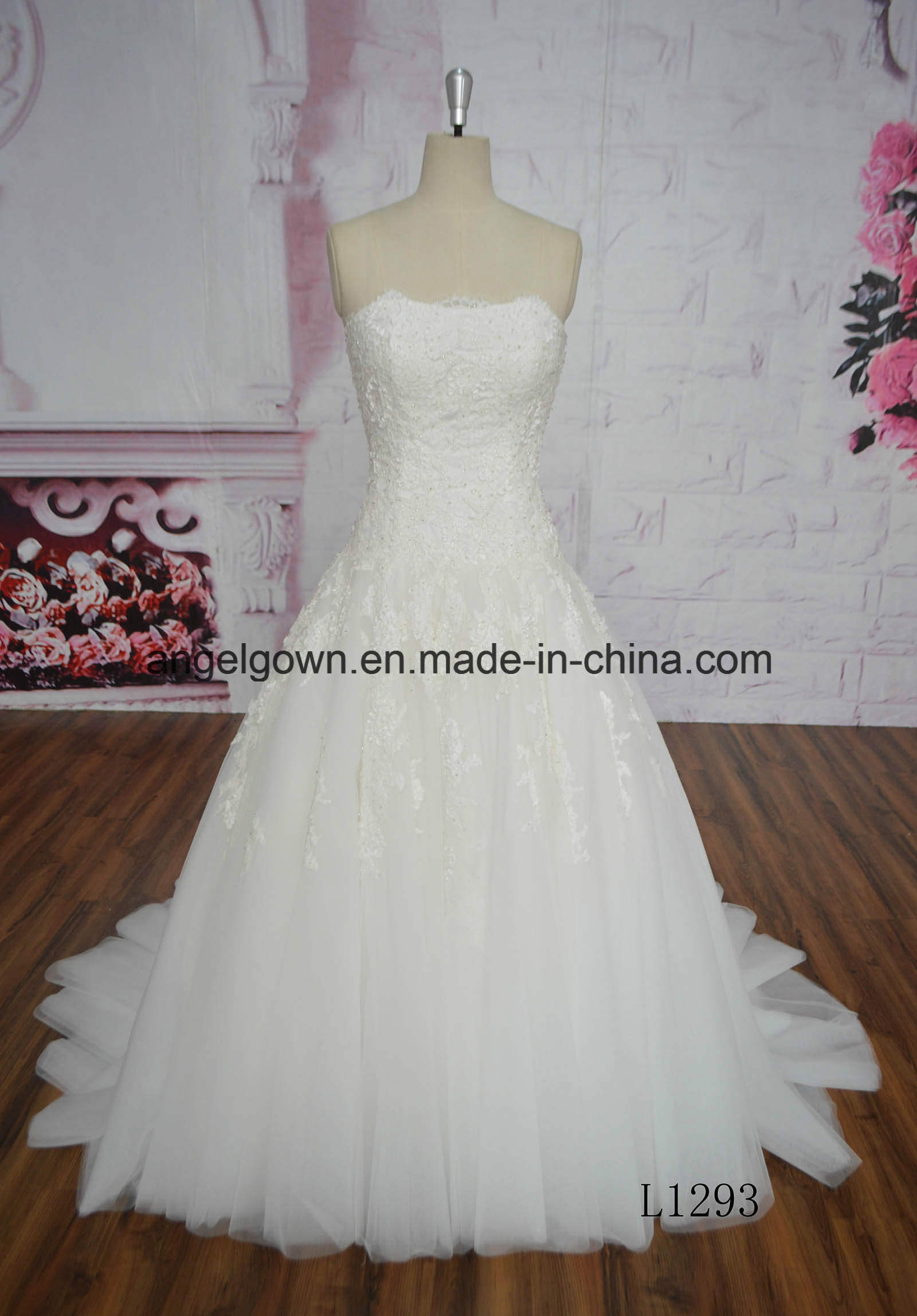 China Factory Price Strapless Beading Lace Ivory Wedding Dress L1293 ...