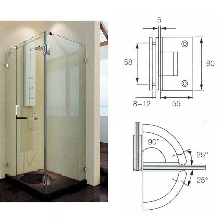 China Bh 105 90 Degree Square Edge Double Clamp Shower Door Hinge