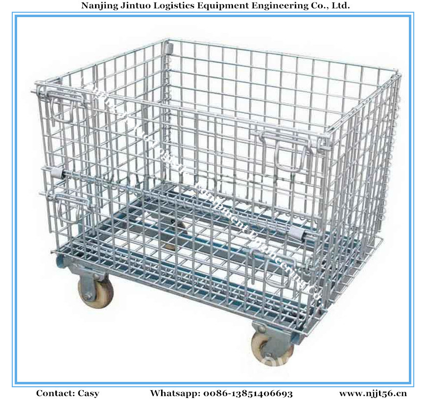 China Collapsible & Stacking Wire Mesh Storage Basket for Industrial ...