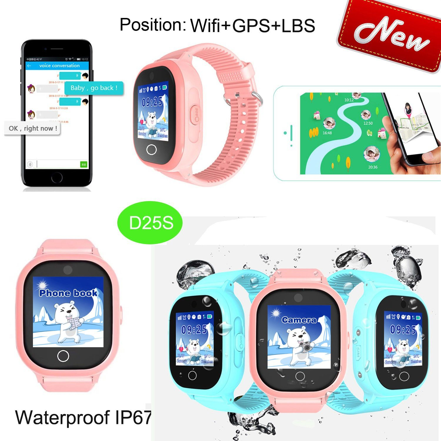 China IP67 Waterproof Kids GPS Watch with Global Google-Map Tracking