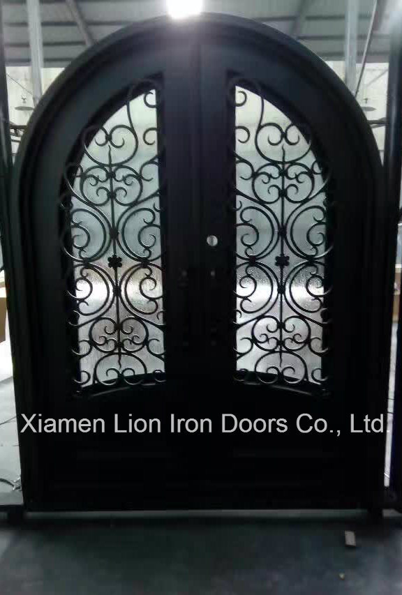 China Best Price Custom Arch Top Cast Iron Front Door Designs Photos
