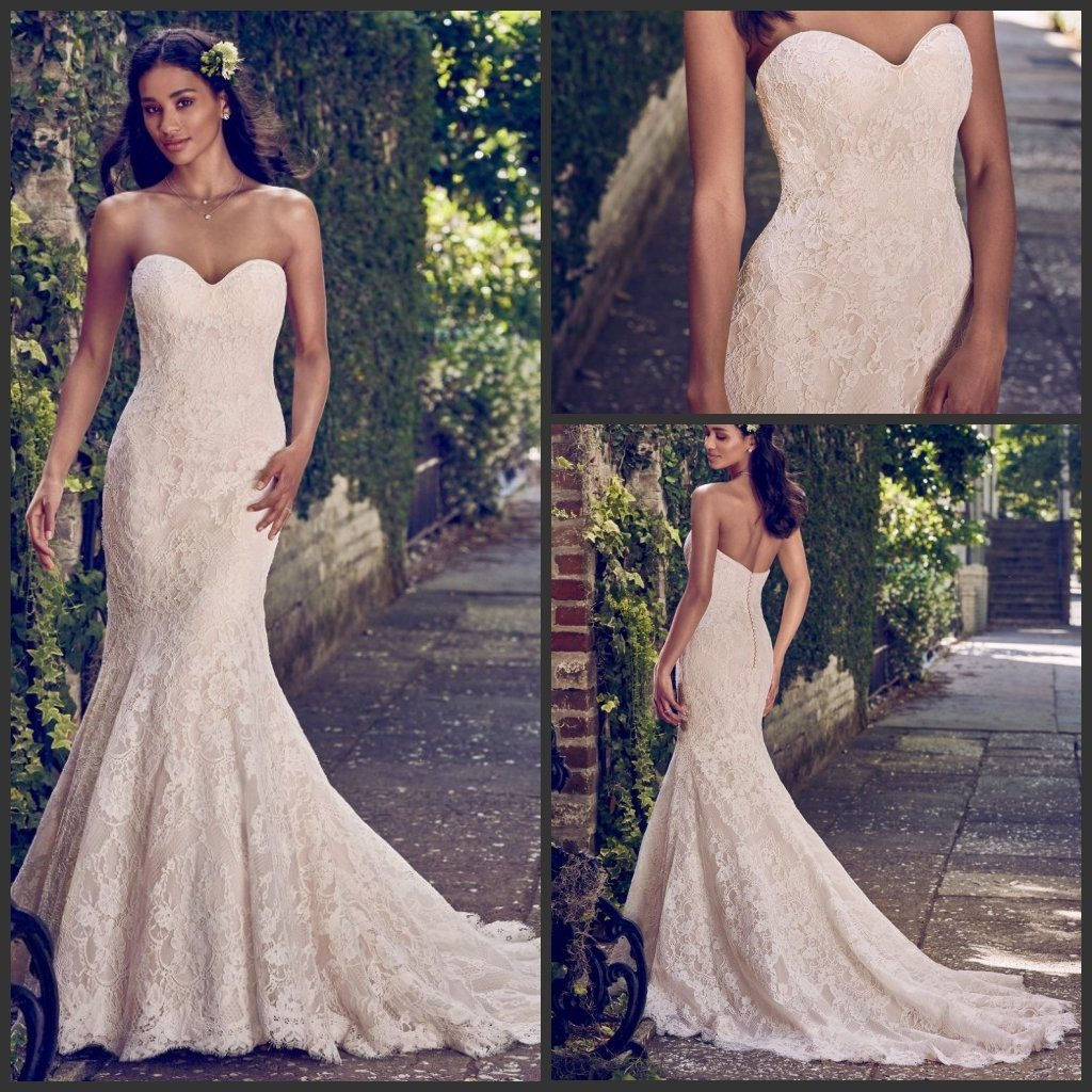 China Strapless Bridal Gowns Lace Mermaid Simple Wedding Dresses ...