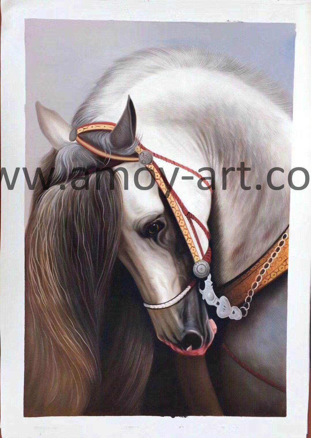 China Handmade White Horse Oil Paintings On Canvas For Wall Decor Chinese Oil Paintings And Animal Oil Paintings Price