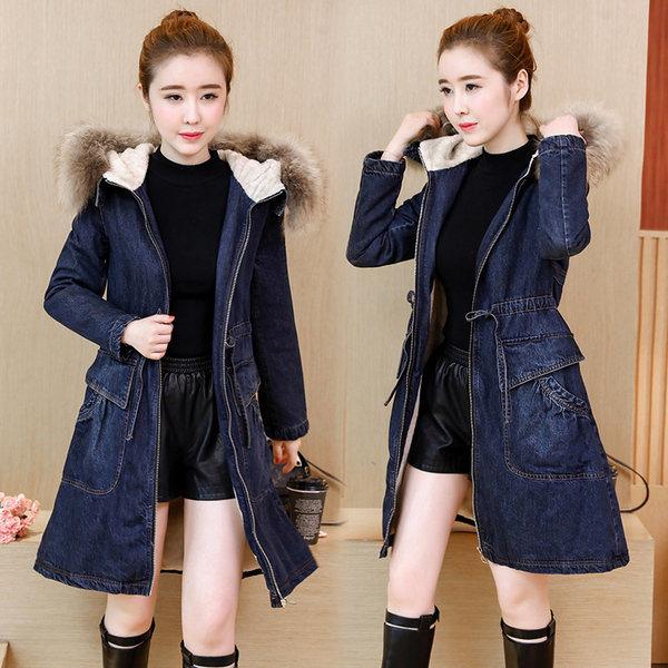 2a4eb15f8739 2018 Fox Fur Hooded Women Winter Denim Jacket Coat Cotton Inner Denim Coat  Outerwear Wool Fur Basic Denim Jacket Ladies Long Sleeve Cotton Velvet Jeans  Coat