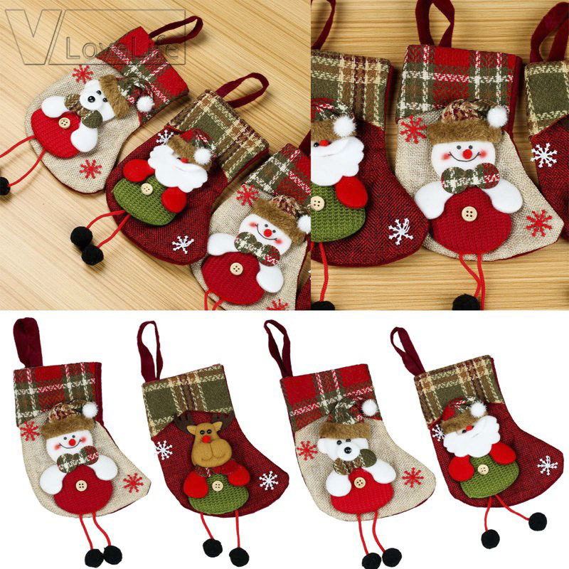 Mini Christmas Tree Ornaments.Hot Item Mini Christmas Stocking Christmas Decoration For Home Plaid Santa Claus Gift Bag Xmas Tree Ornaments New Year Products