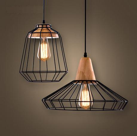 Metal Cable Pendant Lamp with Wood Deco. (WHP-648)