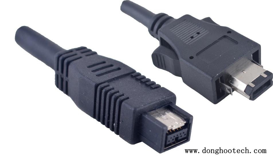 China 1394A 6 Pin with Latches to 180degree 1394b 9pin Firewire ...