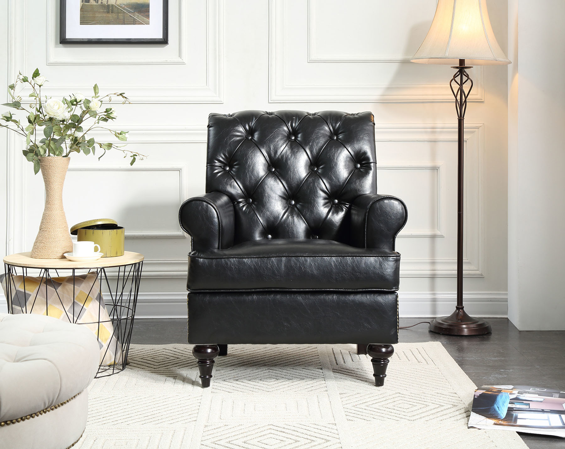 Stupendous Hot Item Home Furniture Living Room Button Leather Sofa Chair Ibusinesslaw Wood Chair Design Ideas Ibusinesslaworg
