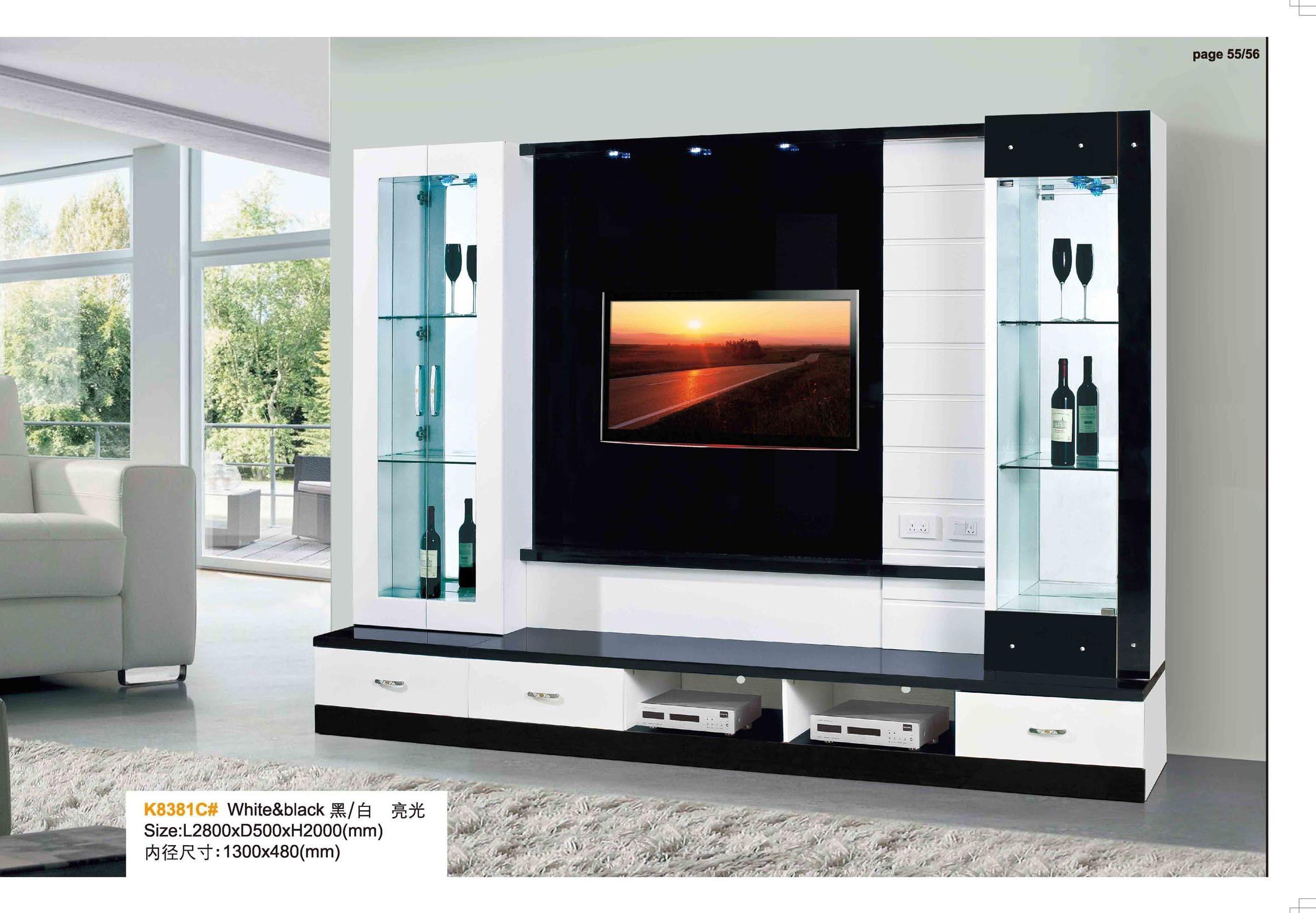 china simple design living room furniture wood tv hall