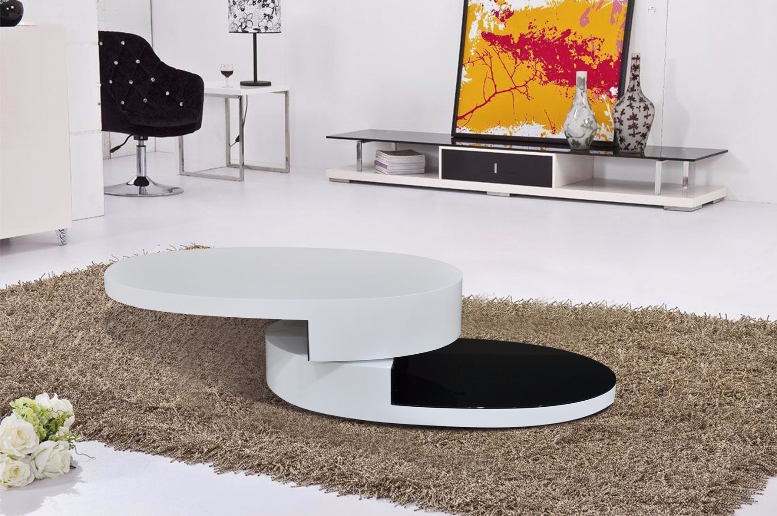China High Gloss + Veneer Functional MDF Coffee Table Living Room ...