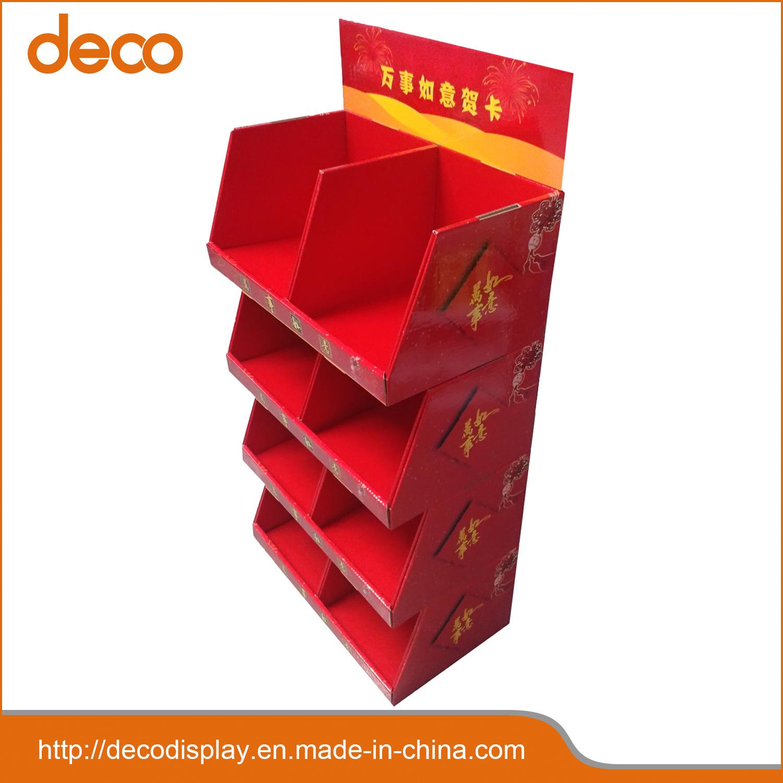 China Greeting Card Cardboard Floor Display Paper Display Shelf For