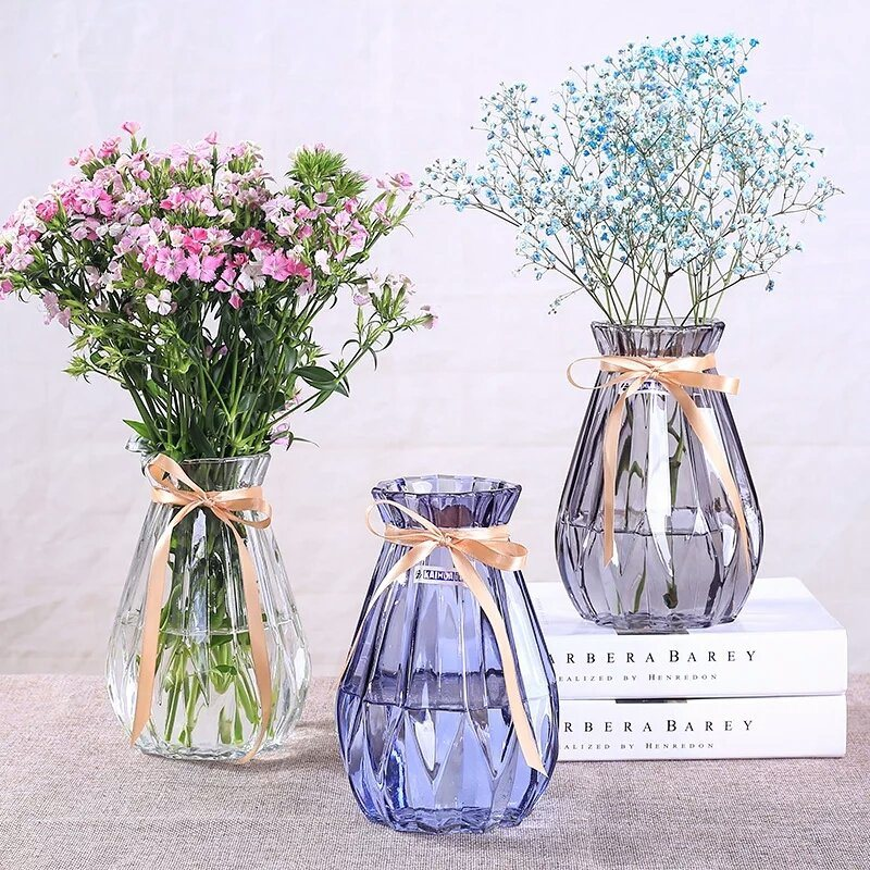 China Hot Sell Beautiful Crystal Transparent Glass Flower Vase