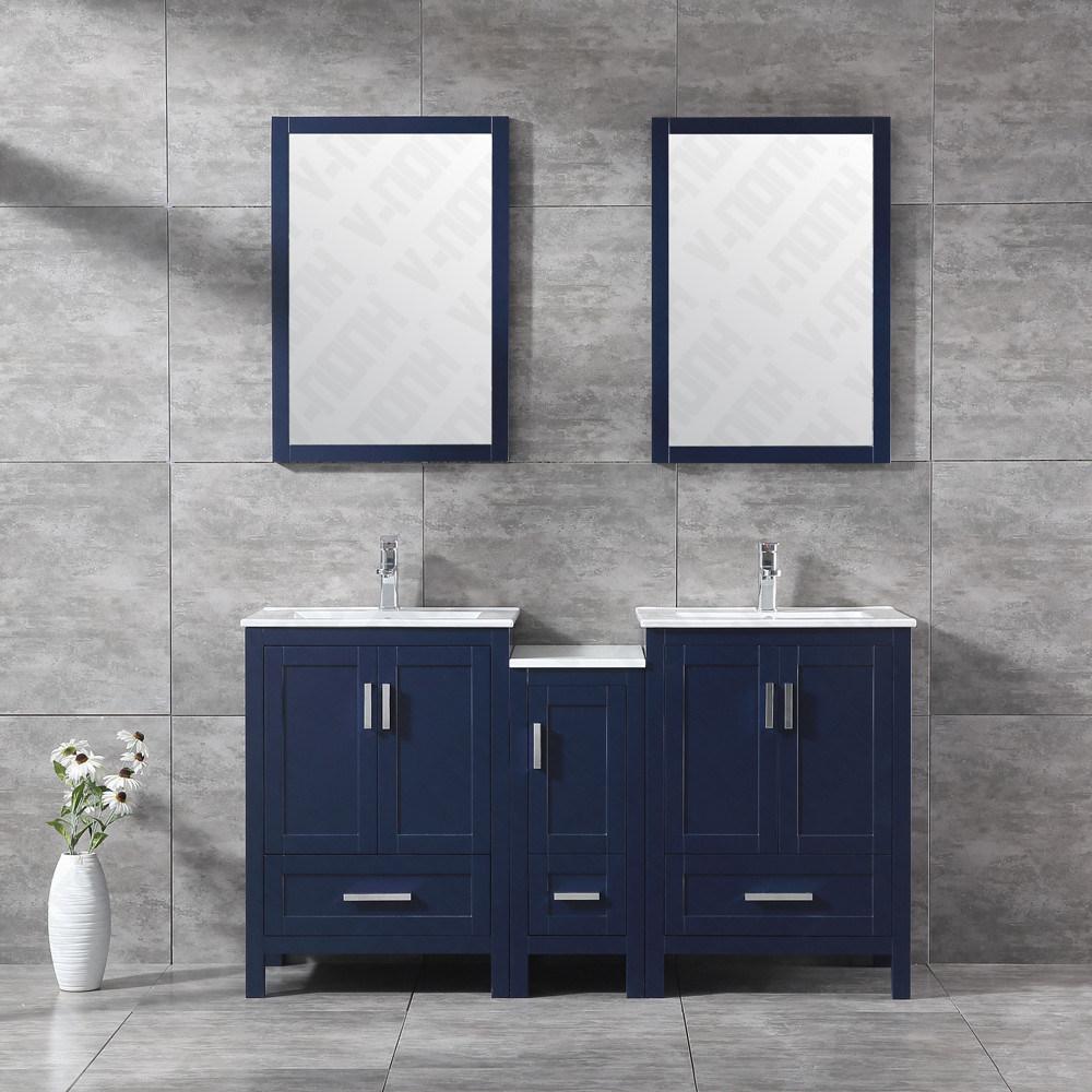 China 60 Inch Wood Bathroom Vanity With Two Sink Double Sink Bathroom Cabinet China Bathroom Vanity Bathroom Cabinet