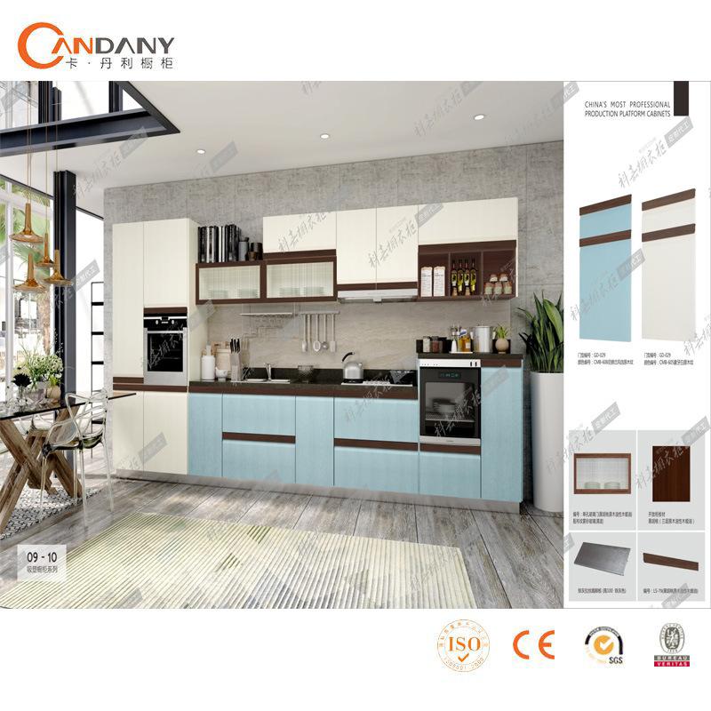 China Hotel Furniture Glossy Pvc Kitchen Cabinet With Quartz Stone
