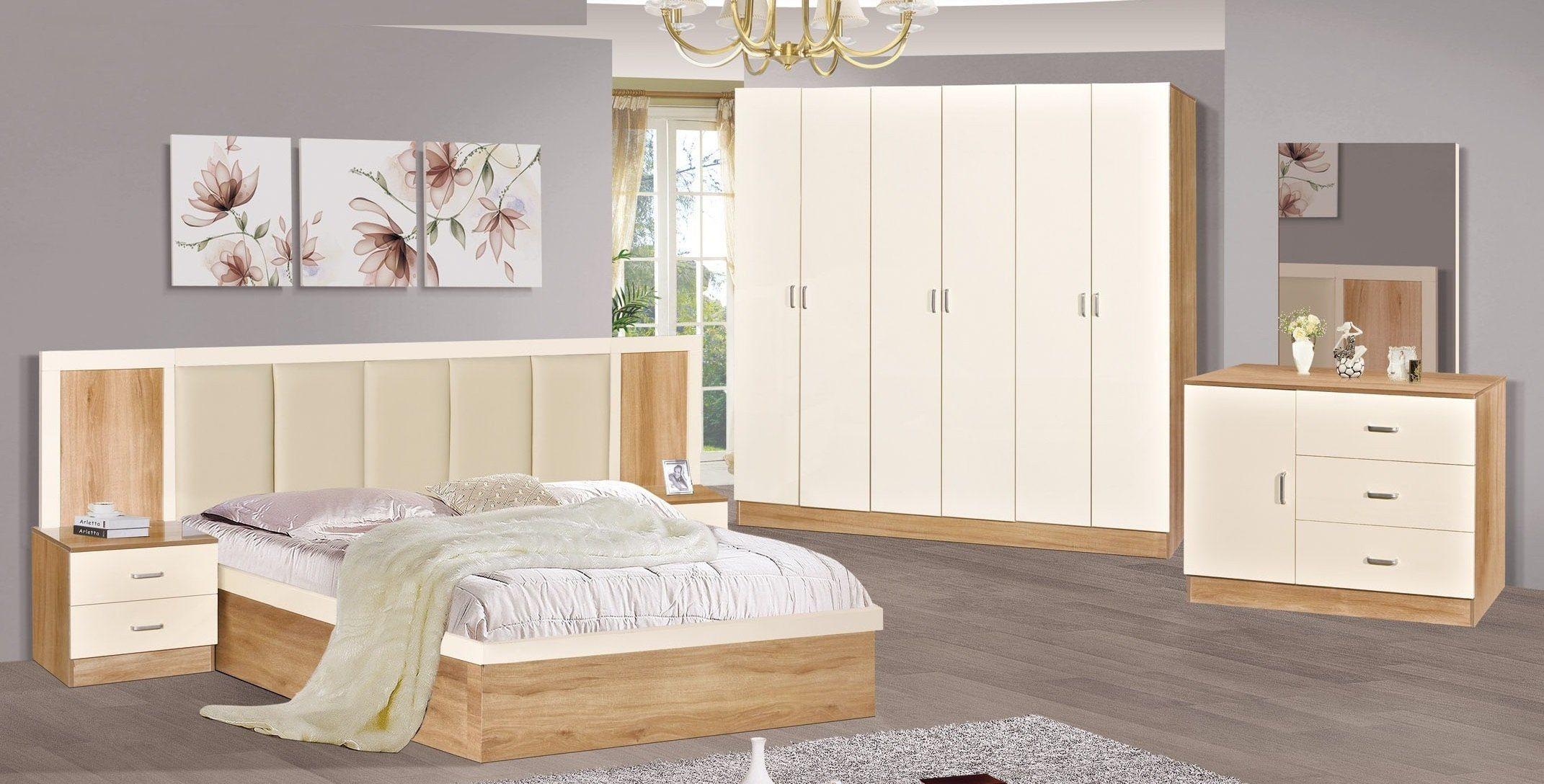 [Hot Item] New Design Modern Furniture Bedroom Sets Melamine Finish  Wardrobe Dressing Table King Antique Bed