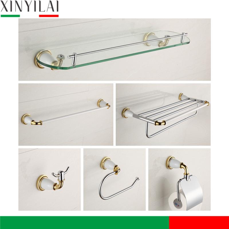 PVD Golden Chrome Brass Bathroom Accessories Set 6PCS