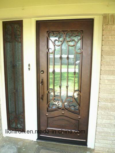 Single Entrance Wrought Iron Door With Sidelights