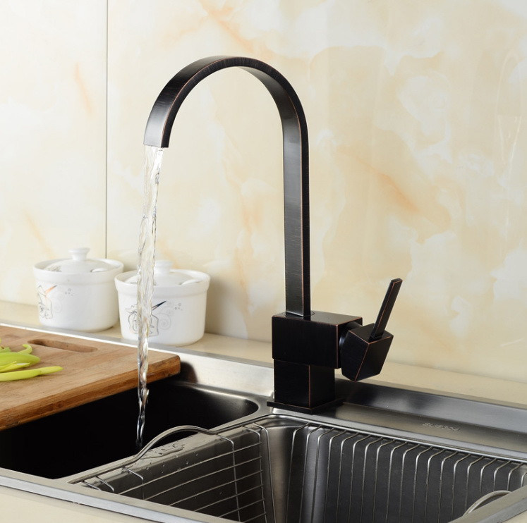 [Hot Item] Square Wire Drawing Orb Black Paint Antique Kitchen Faucet
