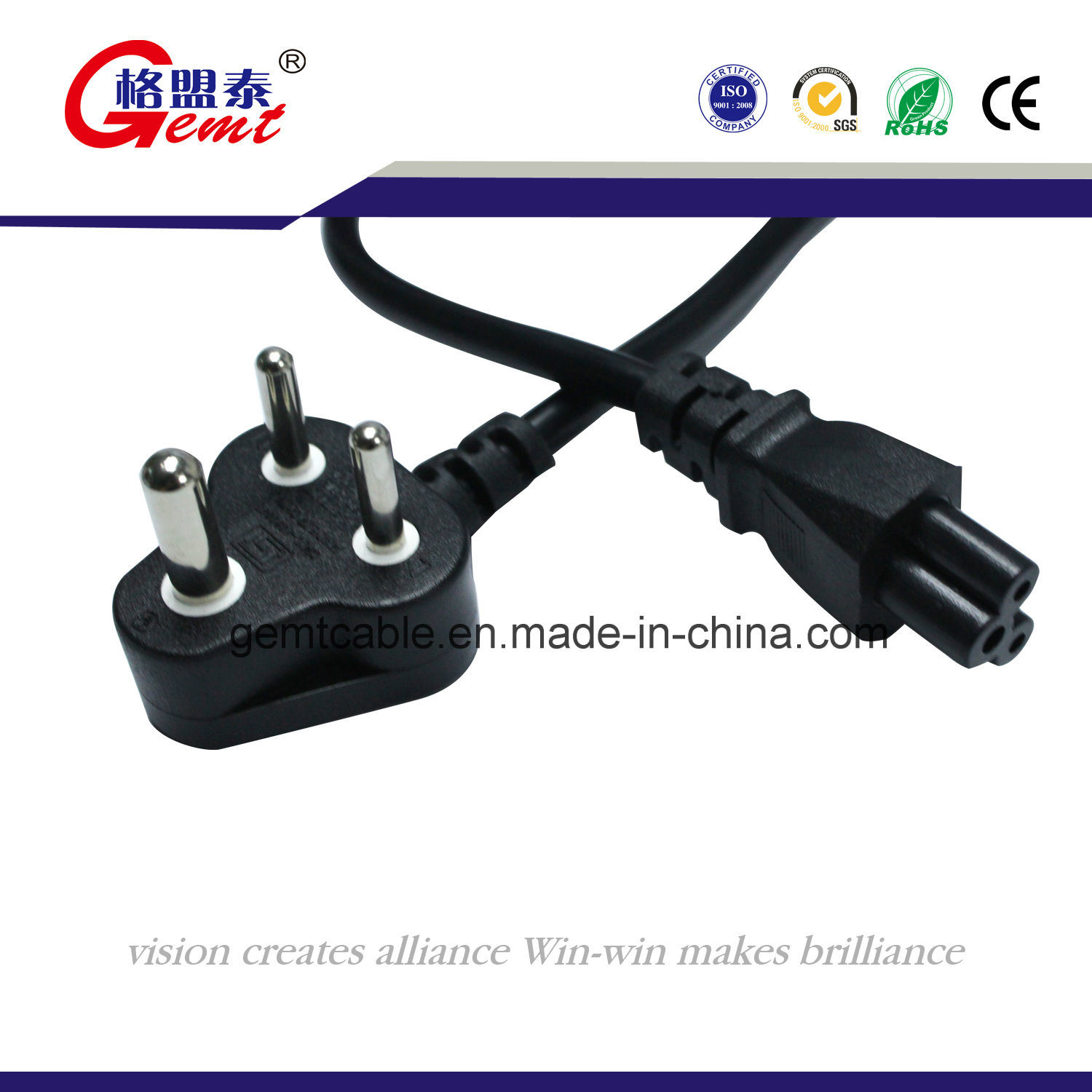 China Standard 3 Poles South African Plug Flexible Cable Wiring A Wall Socket Africa Cord