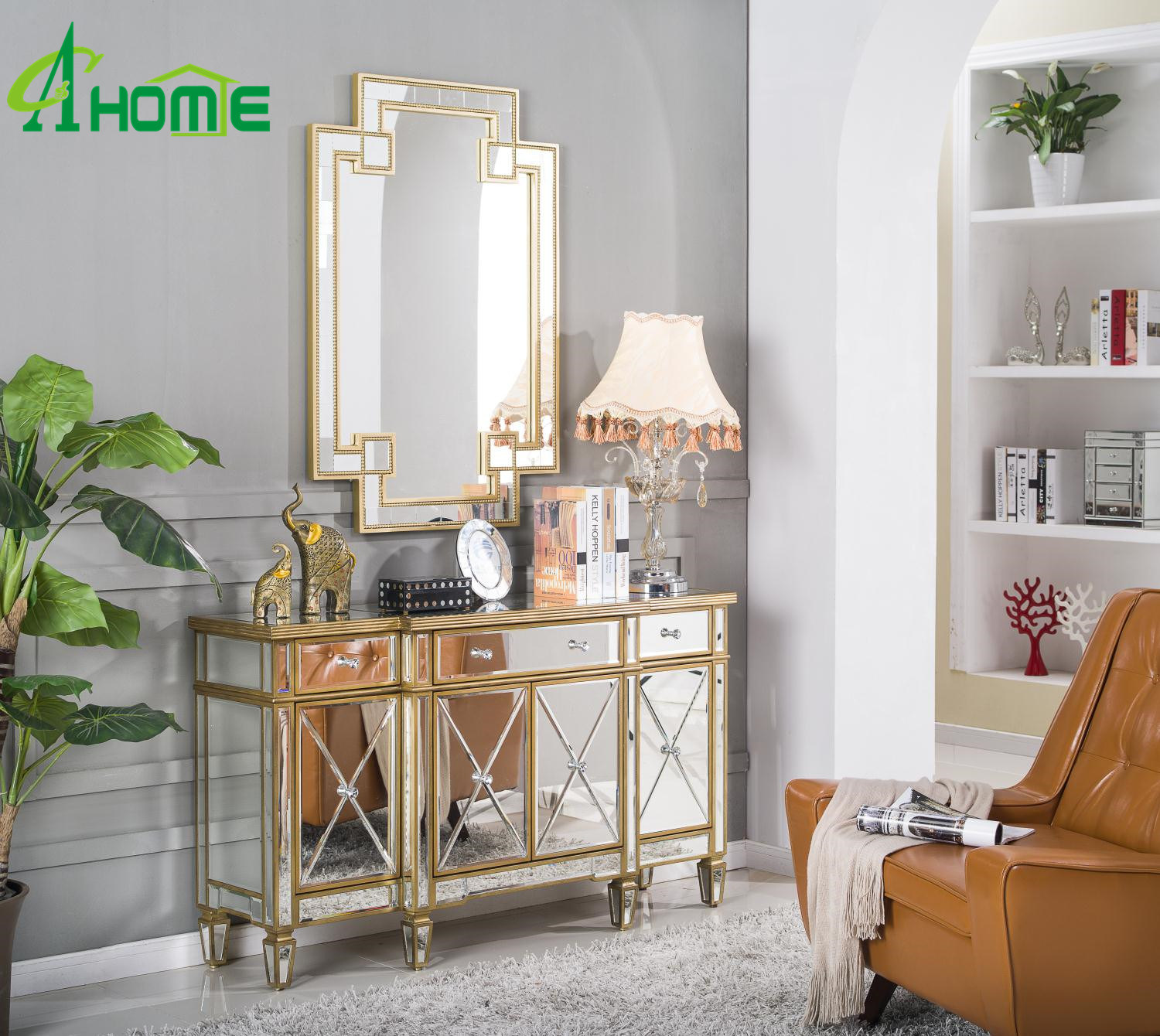 [Hot Item] Modern Elegant/Unique Ornament Decor a Set of Wall Mirrors and  Mirrored Furniture