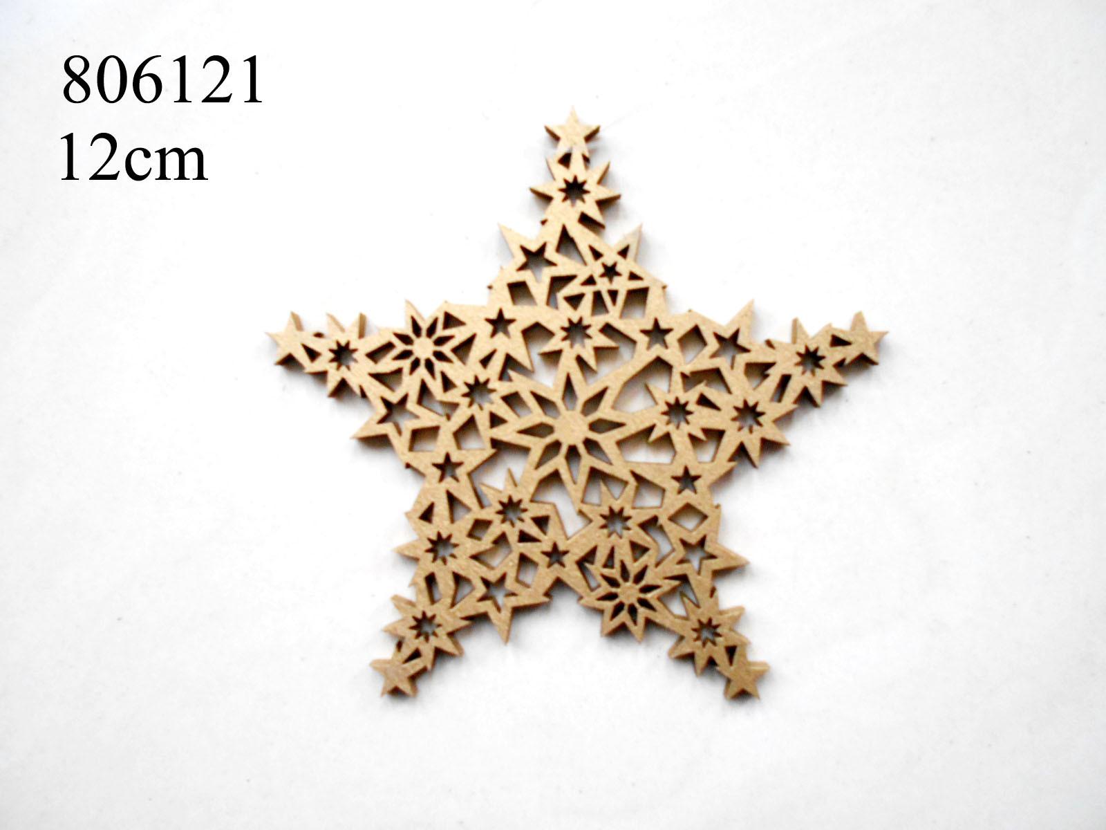 Star Wood Laser Cutting Christmas Hanger Decoration