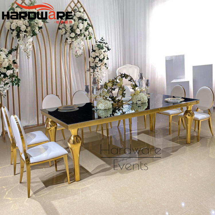 China Contemporary Rectangle Gold Metal Mirror Glass Top Dining Table Sets China Dining Sets Made In Malaysia Dining Table For Wedding Event