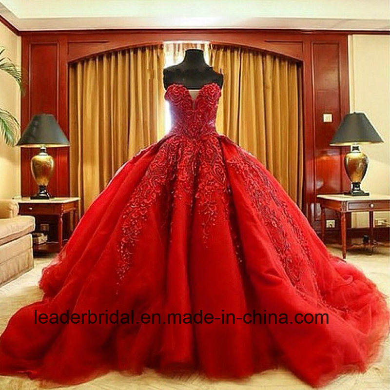 Luxury Ball Gowns Embroidery Red Wedding Bridal Dresses Z2012