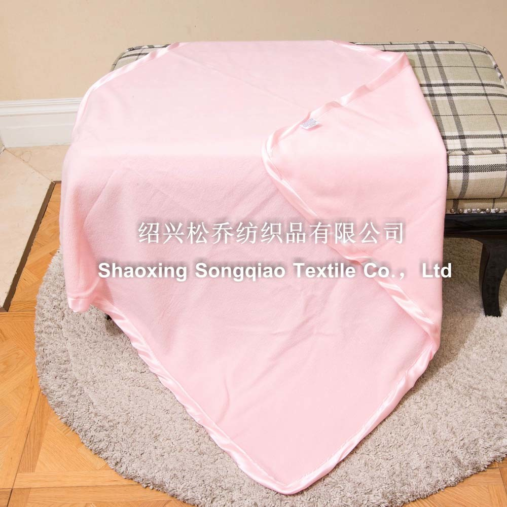 Plain Polyester Fleece Baby Blanket with Ribbon pictures & photos