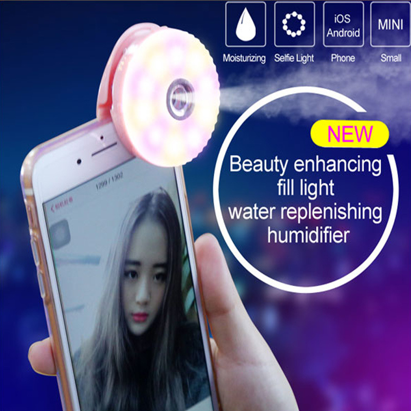 LED Light Ring Selfie Flash Light with Humidifie (RK15)