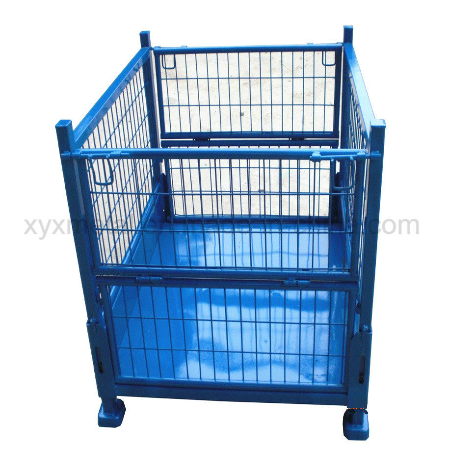 China Steel Stacking Storage Container Wire Mesh Cage Metal Crates ...