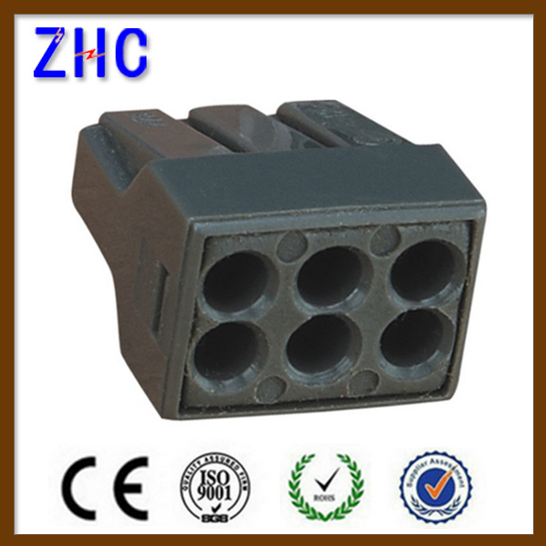 Electric Push Wire Connector for Junction Boxes 6-Conductor Wire Terminal Blocks