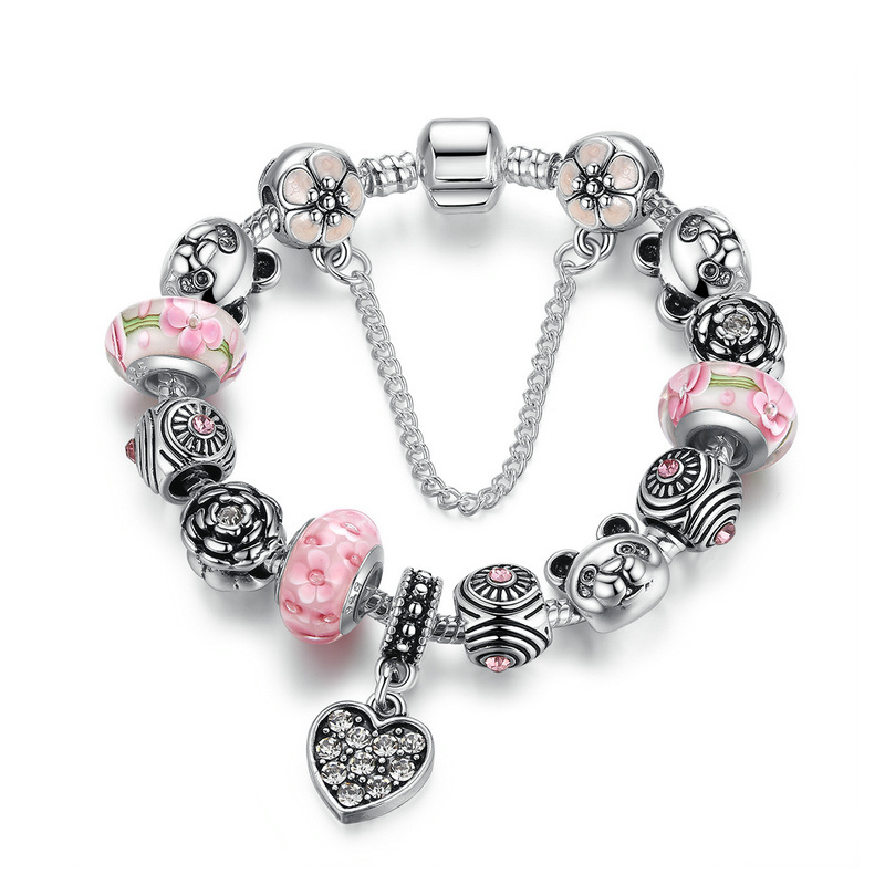 Charm Bracelet Heart Pendant & Bear Flower Safety Chain Pink Murano Beads Bracelets Jewelry Making