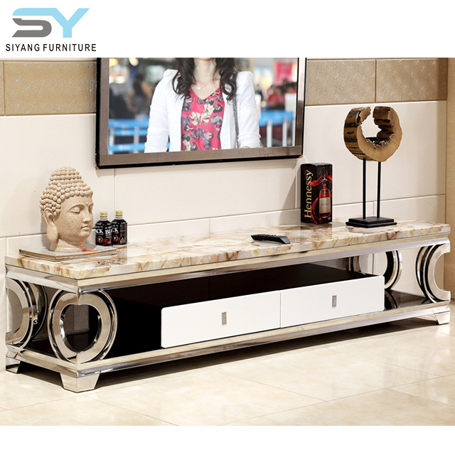 more photos 19ff4 9d454 China Antique Cabinet Marble TV Stand Stainless Steel TV ...