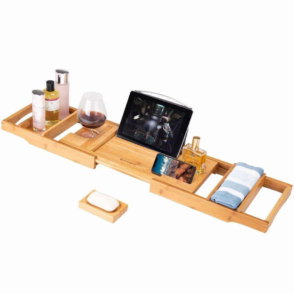 [Hot Item] Frond Bamboo Bathtub Caddy Tray, Luxury Wood Bath Rack with  Extendable Sides for Book, iPad, Kindle, Phone Wineglass Tablet Holder