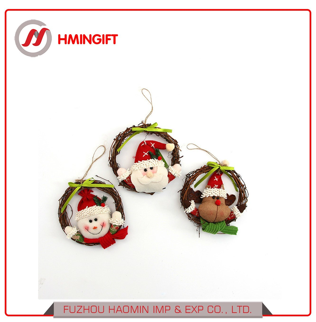 China New Style Promotional Artificial Rattan Doll Christmas Garland
