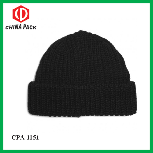 df0c8134dca China Dark Grey Ribbed Wool Beanie Hat with Folded Rim (CPA-1151 ...