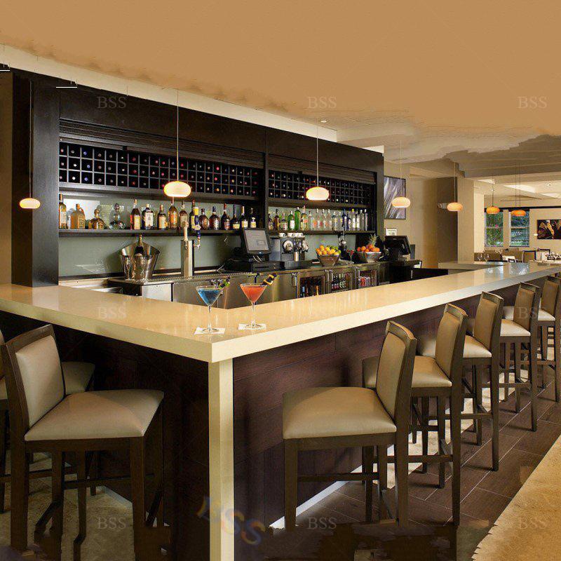 China Modern L Shape White Corian Front, Restaurant Bar Furniture