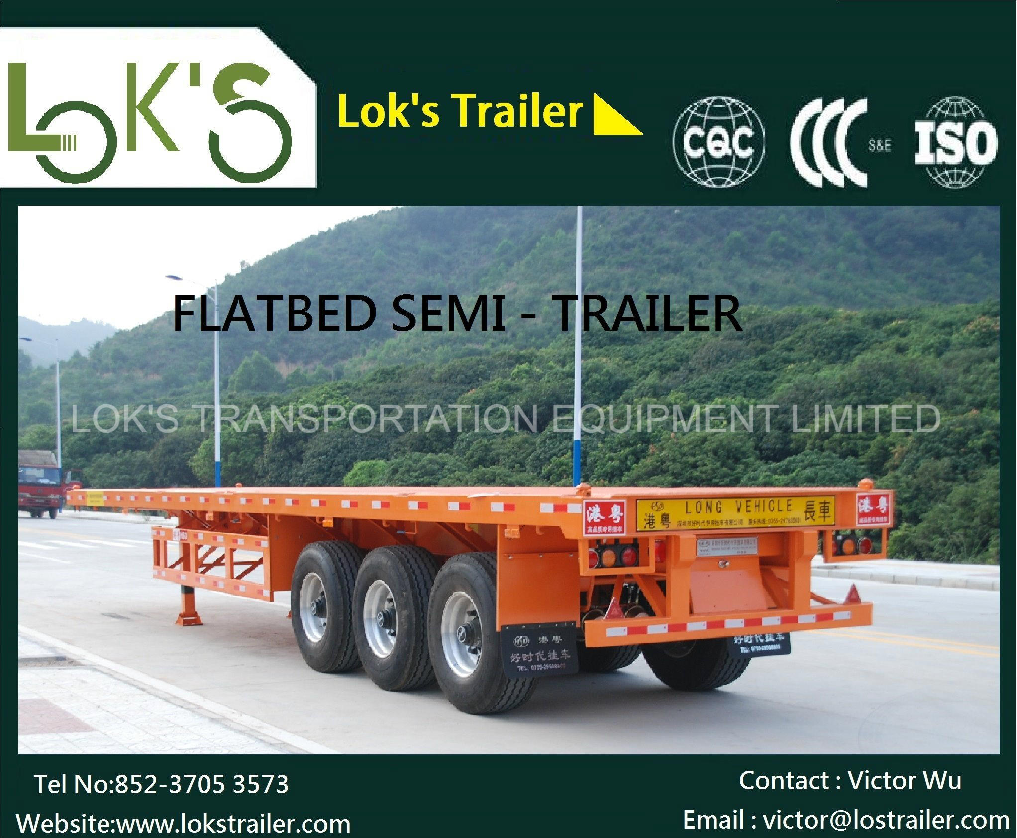 40feet 3axle Flatbed Semi Trailer pictures & photos