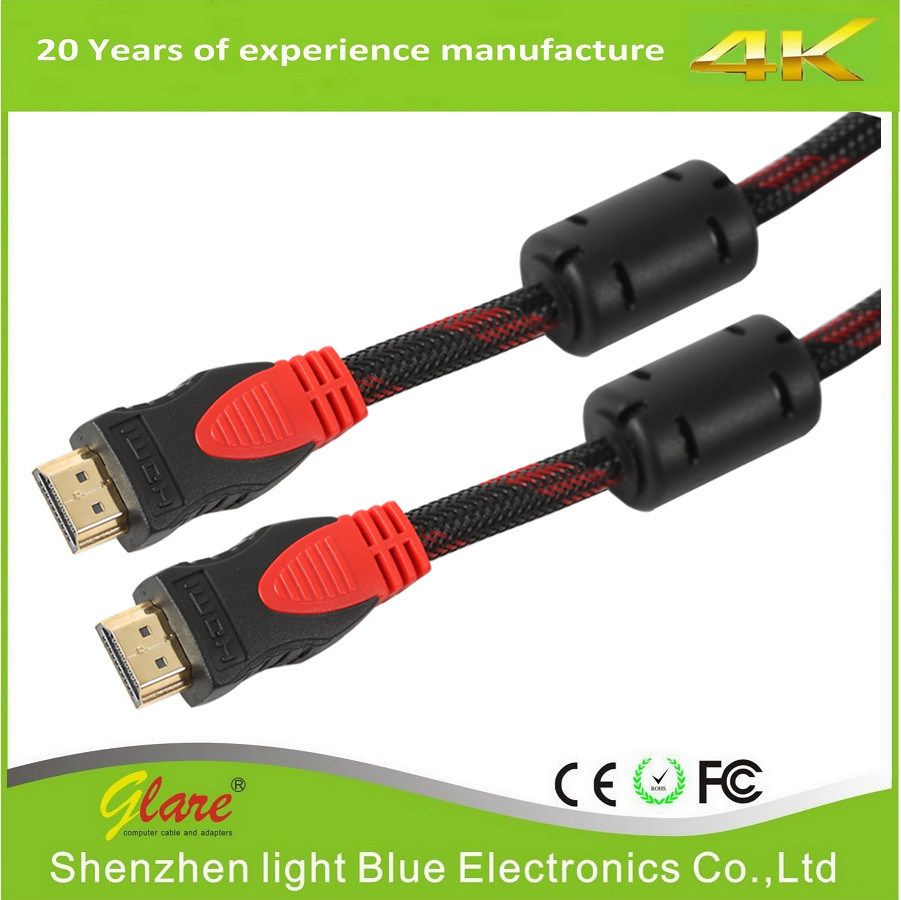 China Gold Plug 1080p Hdmi Cable With Double Ferrite Cores Connector A Higth Speed 20 Hdtv