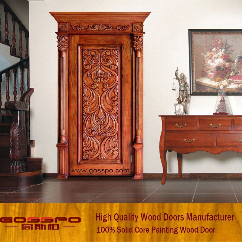 Hot Item Classic Main Entrance Wooden Door Design Gsp2 071