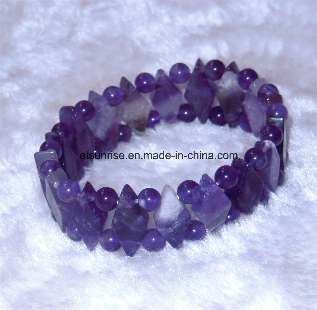 Semi Precious Stone Natural Crystal Amethyst Gemstone Chakra Diamond Bracelet