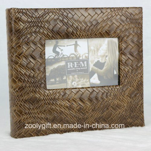 Hot Item Book Bound Deluxe Brown Leather Photo Album With 5x7 Frame Window