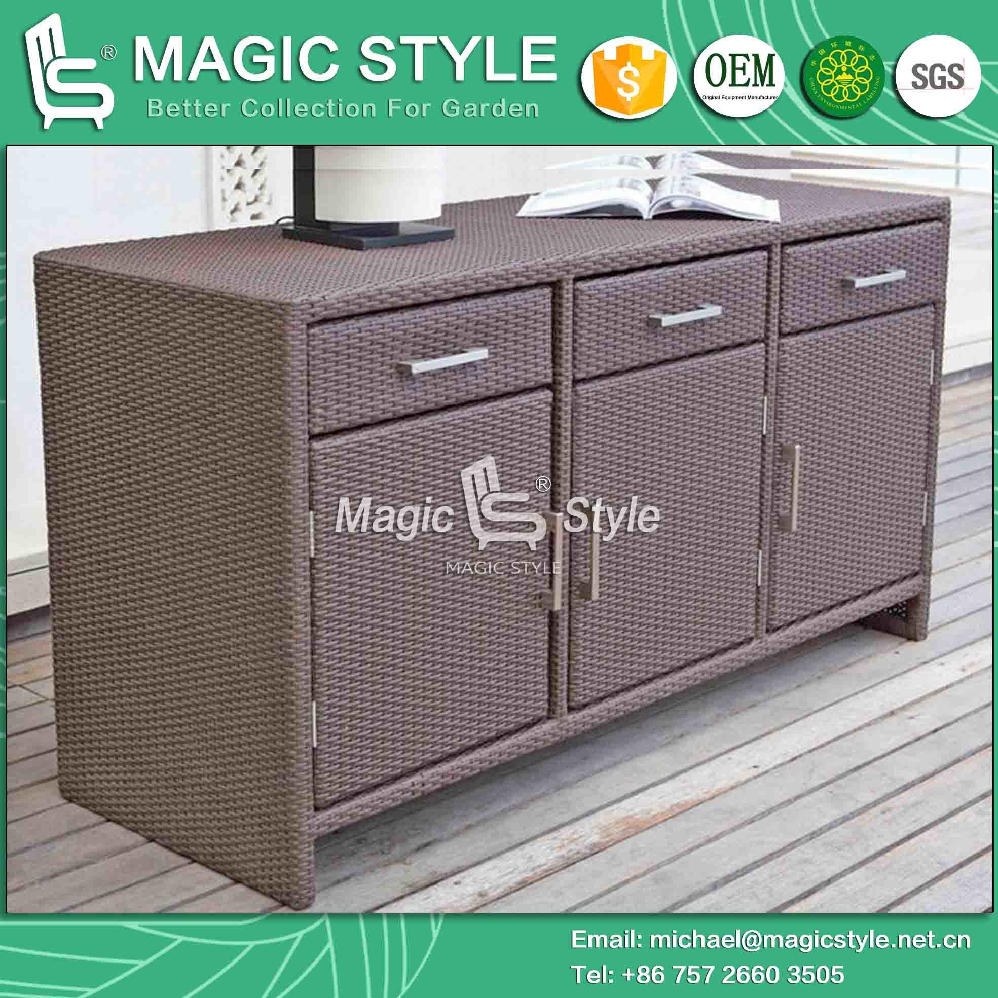 Cabinet With Drawer Synthetic Wicker