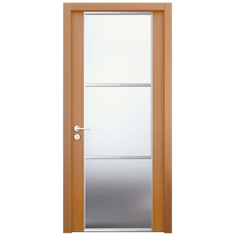 China Oppein Brown Wood Frame Glass Interior Security Door Msld02