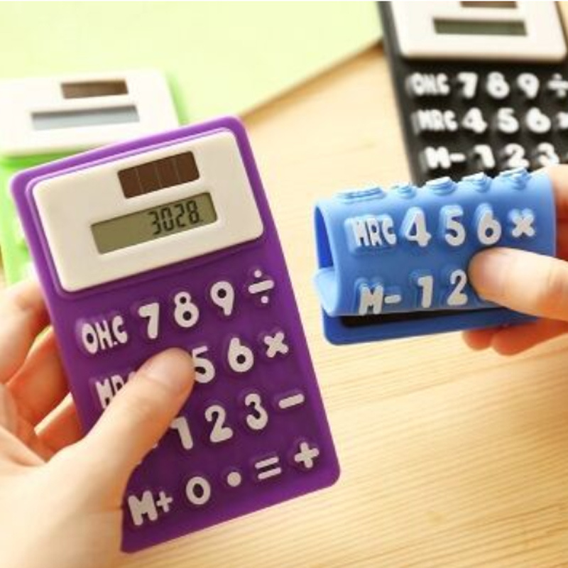Soft Slim Credit Card Solar Power Pocket Mini Novelty Small Silicone Calculator